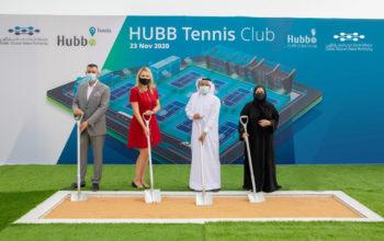 """""""دبي للسيليكون"""" و """"هب جلوبال"""" تضعان حجر الأساس لمجمع تنس عالمي في الواحة بتكلفة 100 مليون درهم"""