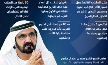 """محمد بن راشد يوجه رسالة لشعب الإمارات والأمتين العربية والإسلامية عشية وصول """"مسبار الأمل"""" إلى المريخ"""