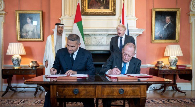 بحضور محمد بن زايد وبوريس جونسون ، إعلان شراكة للاستثمار السيادي بين مبادلة ووزارة التجارة البريطانية بــ 10 مليارات جنيه استرليني